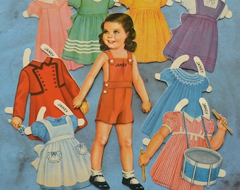 Janey Vintage Paper Doll and Clothes 1986 Shackman
