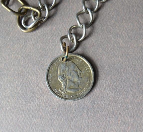 1789-1797 1st President George Washington Coin Token Medallion Chain