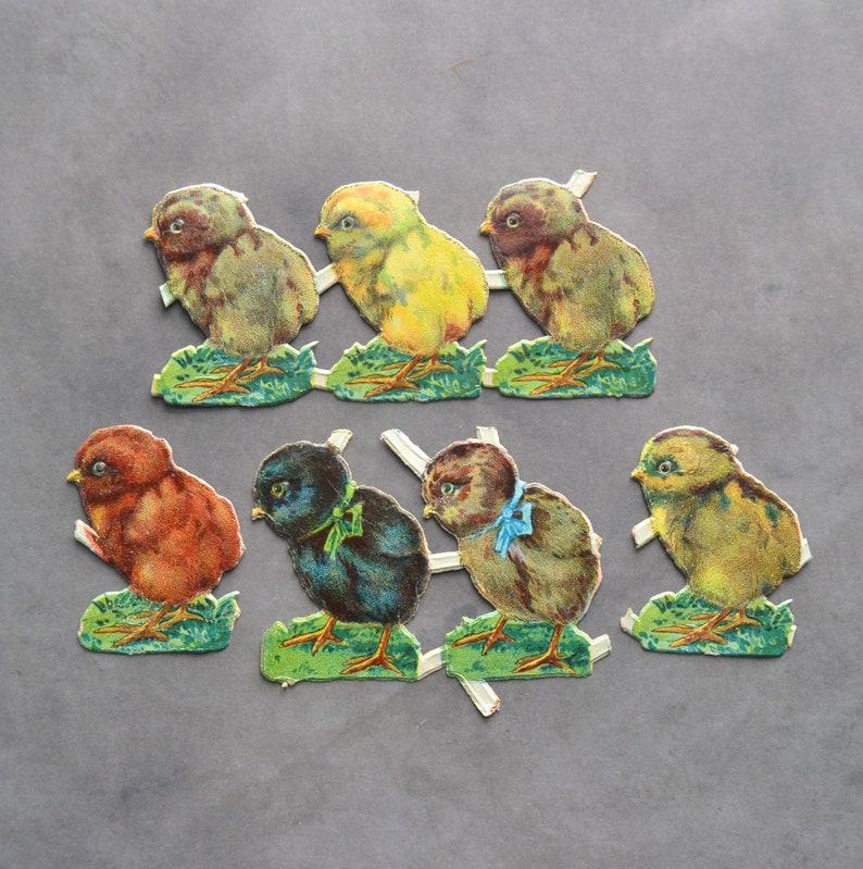 Vintage Easter Chicks Victorian Scraps 7 pc 2 25