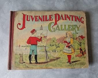 Antique 1908 Juvenile Painting Gallery Children's Coloring Paint Book