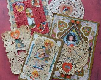 Vintage Valentine Greeting Cards with Paper Lace