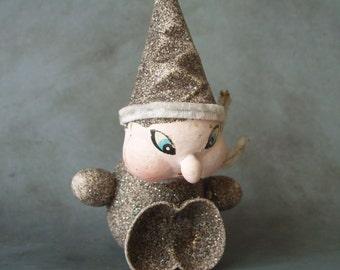 Vintage German Paper Mache Elf Christmas Ornament with Glitter