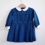 Vintage 1960's Toddler Girl Dress - Navy Blue Peter Pan Collar (2-3T)
