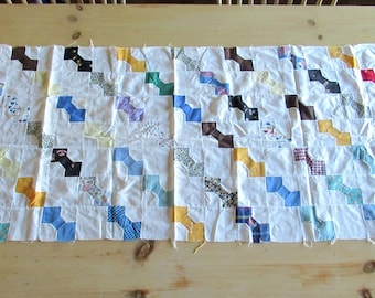 Vintage art quilts etsy patchwork bow tie unfinished quilt top remnant vintage 1940s hand and machine pieced ccuart Image collections