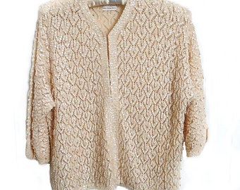 71d85a191a Beaded Cardigan Sweater Vintage 1950s 60s 3 4 Sleeve Wool Peachy Beige  Sequins Hanging Pearls