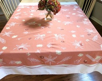 Cotton Tablecloth Vintage Rectangle Light Rust Color with White Background 1950s 1960s Home Decor Linen