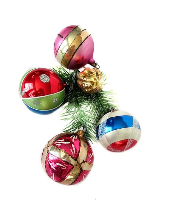 image 0 - 5 Glass Christmas Ornaments Vintage 1950s 60s Mercury Glass Etsy