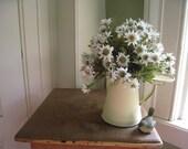 Artificial White Yellow Daisy Arrangement In A Vintage Small Pale Yellow Green Enamel Coffee Pot W Ceramic Bird