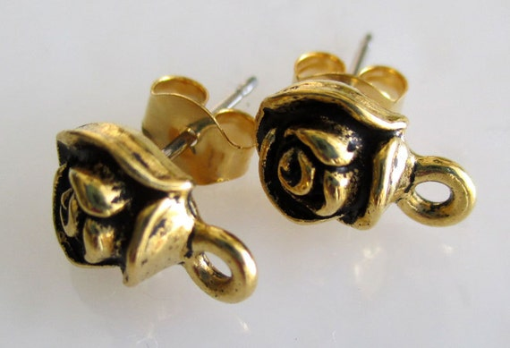 Tierracast Antique Gold Plated Pewter Rose Post Earrings