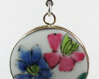 Ming Dynasty Porcelain Shard Pendant with Pink & Blue Flower Motif - 40mm - Sterling Silver Bezel Setting