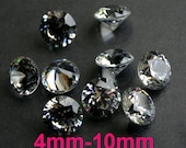 AAAAA Round Cubic Zirconia CZ 4mm, 5mm, 6mm, 8mm, 9mm, 10mm Diamond Brilliant Cut - Diamond Clear