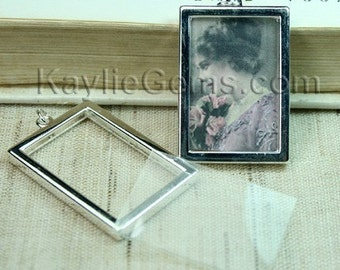 Picture Frame Charm Pendant Double Sided Rectangle Portrait 34x24mm - Silver Plated