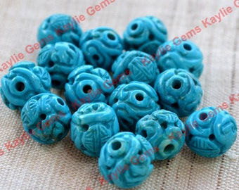Intricate Natural Blue Turquoise Carved Beads Vintage Condition - 2pcs
