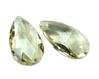Crystal Tear Drop 16x28mm Faceted Pendant - Champagne- 2 pieces