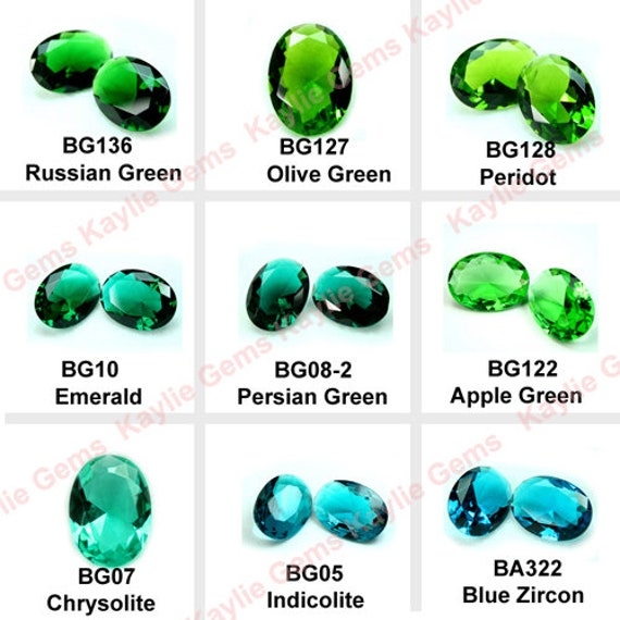 Russian Green 25x18mm Glass Jewel Gem Stone Oval Faceted Diamond Cut Pointed Back Unfoiled