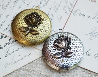 Rose Locket Pendant Round Antique Brass, Antique Silver  - 1 piece