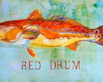SOLD to Lynn.  Red Drum floorcloth. 2'X3' canvas