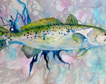 A Custom order for (You)    Fish painting Speckled Sea Trout 2'X3' canvas floor cloth  on Etsy