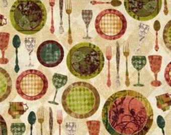 Fabric with Dinner Place Settings by Quilting Treasures (by the yard)