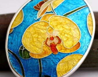 Yellow Orchids In Bloom - Cloisonne Enamel, 24K Yellow Gold, and Sterling Silver Broach
