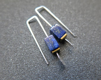 small lapis lazuli earrings. royal blue and gold hematite jewelry. rectangle earrings. made in Calgary