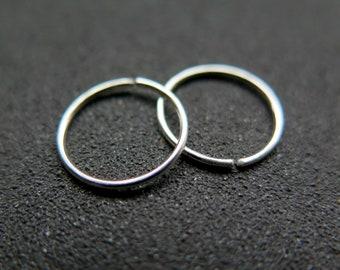 mens sterling silver hoops. small silver hoop earrings. sleeper hoops.