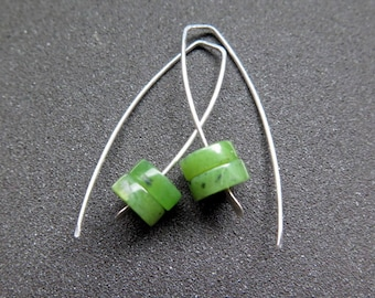 Canadian jade earrings. green jade jewelry. recycled sterling silver jewellery.