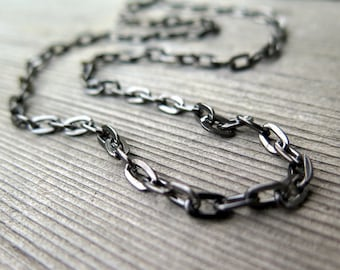 mens necklace. unisex black jewelry. gunmetal steel chain. splurge.