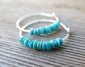natural turquoise earrings. small 7/8 inch sterling silver hoops. Canadian seller in Calgary. turquoise jewelry.