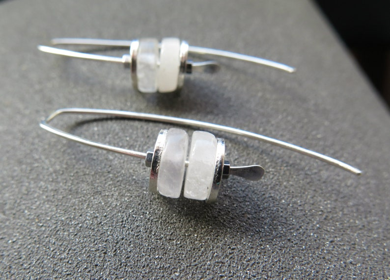 white quartz earrings. modern stone jewelry. sterling silver image 0