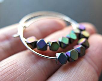 rainbow hematite hoops. sterling silver hoop earrings. geometric jewelry.