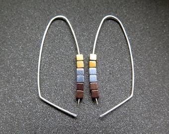 gold, silver and copper earrings. modern cube hematite hoops. metallic jewelry.