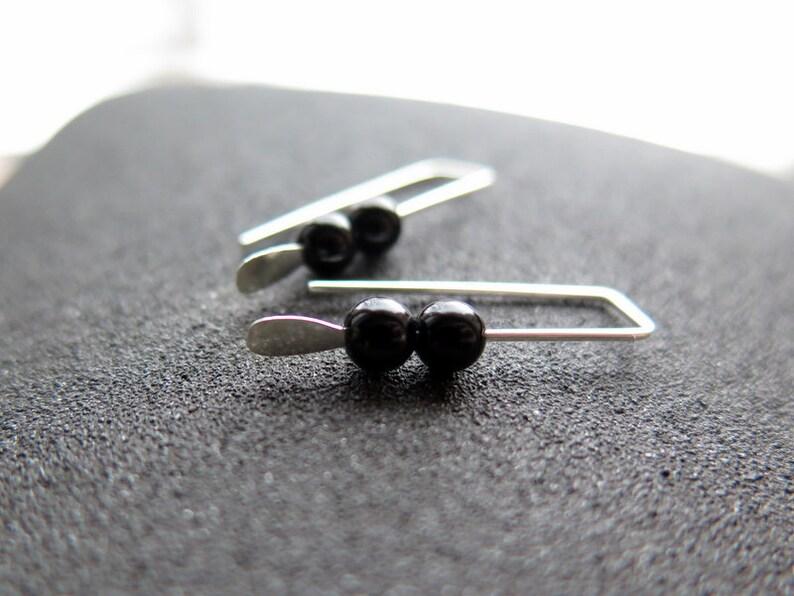 small black onyx earrings modern jewelry Canadian seller.