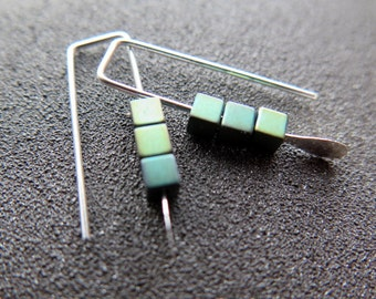 small hematite earrings. green jewelry. geometric jewellery. Canadian seller.