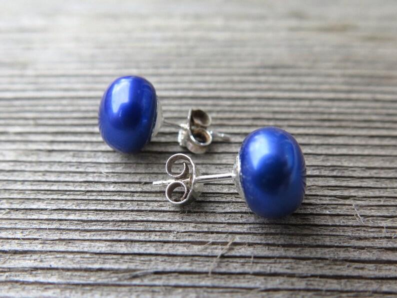 sterling silver earings birthstone jewelry sapphire blue pearl earrings freshwater pearl studs.