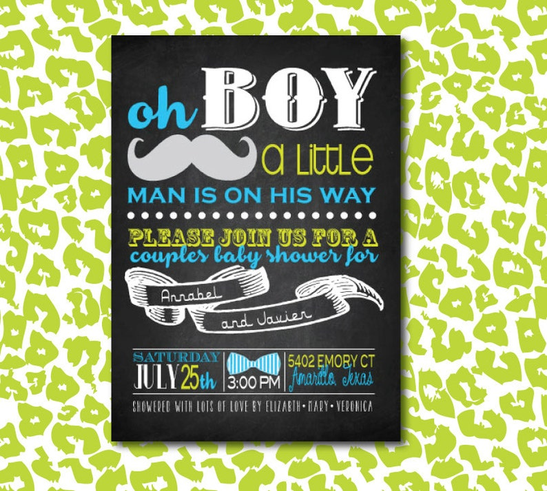 DIY Baby Boy Couples Shower Mustache Invitation