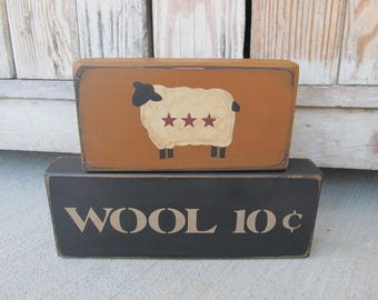 Primitive Sheep Wool 10 Cents Stacker Blocks Set of 2 with Color Choices GCC6874