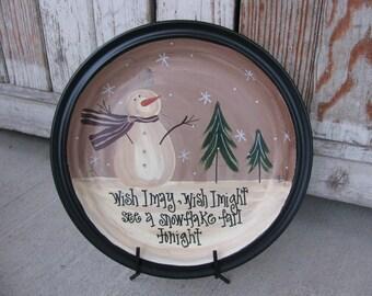 Primitive Wish I May Wish I Might Snowman Winter Scene Hand Painted Decorative Plate GCC1297