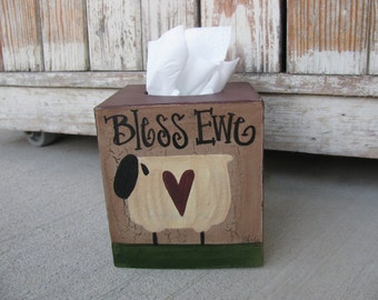 Primitive Bless Ewe Sheep Hand Painted Tissue Box Cover GCC916