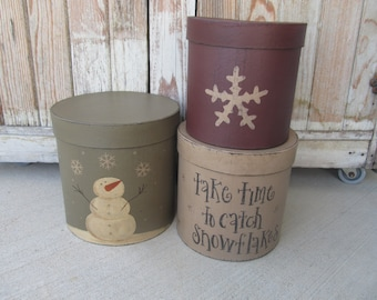 Primitive Catching Snowflakes Snowman Set of 3 Tall Round Stacking Boxes GCC6334
