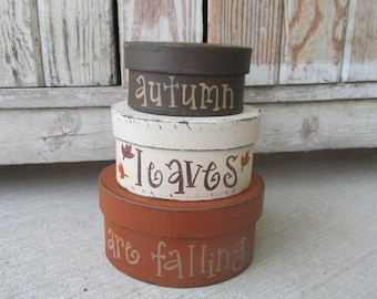 Primitive Fall Autumn Leaves Are Falling Hand Painted Set of 3 Small Oval Stacking Boxes GCC6323