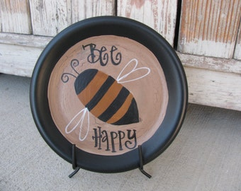 Primitive Hand Painted Bumble Bee Plate GCC3461