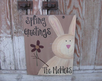 Primitive Personalized Country Bunny Hand Painted Wooden Sign GCC4460