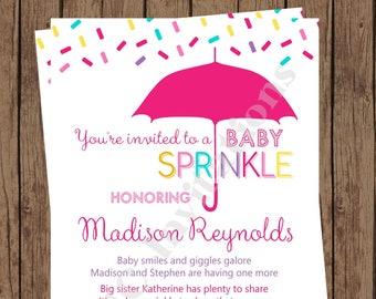 Custom PRINTED Cupcake Sprinkle Baby Sprinkle Invitations ... 1.00 each with envelope