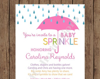 Custom Printed Pink Umbrell Rain Baby Sprinkle Invitations ... 1.00 each with envelope