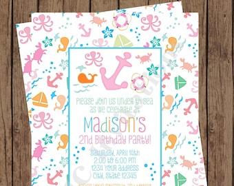 Custom Printed Nautical Birthday Invitation - Girl Nautical - Birthday - Under the Sea, Underwater, Ocean Birthday Invitations