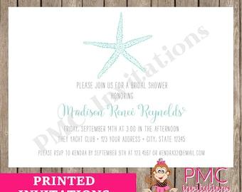 custom printed nautical beach starfish bridal shower invitations 100 each with envelope