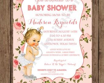 Custom Printed Shabby Chic Vintage Baby Shower Invitations