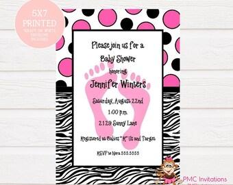 Zebra print baby shower invitation for girl etsy custom printed zebra print baby shower invitations pink blue or green 100 each with envelope filmwisefo