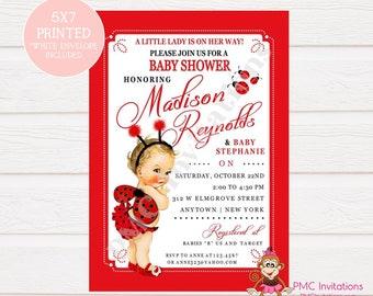 Ladybug baby shower etsy custom printed shabby chic antique vintage ladybug baby shower invitations you pick hairskin color 100 each with envelope filmwisefo